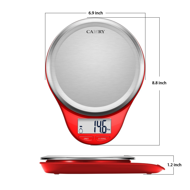 Tara-Funktion Auto-Off hoher Pr/äzision auf bis zu 1g LCD-Display Elektronische Waage mit LCD-Display Camry Edelstahl K/üchenwaage Digital Digitalwaage Professionelle Waage mit Teigschaber Rot