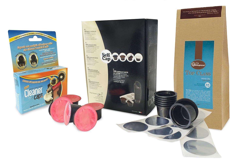 Kit compatible Lavazza Blue (100 SelfCap para llenar + 30 Mirò gusto intenso) + 200 gr cafè molido de alta calidad + kit de limpieza máquinas de café a ...