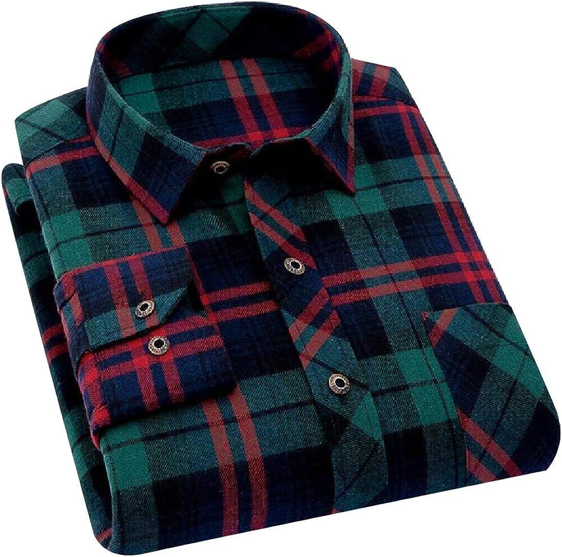 YUNY Mens Non-Iron Long Sleeve Button Comfy Shirt AS3 L