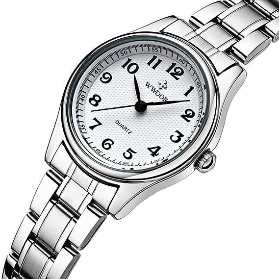 wwoor 8805 de la mujer relojes esfera de color blanco Digital restaurar Ancient maneras de acero