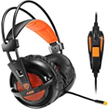 EasySMX Comfortable LED 3.5mm Stereo Gaming LED Lighting Over-Ear Headphone Headset Headband with Mic for PC Computer Game With Noise Cancelling & Volume Control (Orange)