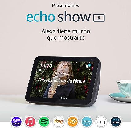 Presentamos el Echo Show 8: mantén el contacto con la ayuda de Alexa, tela de color antracita: Amazon.es