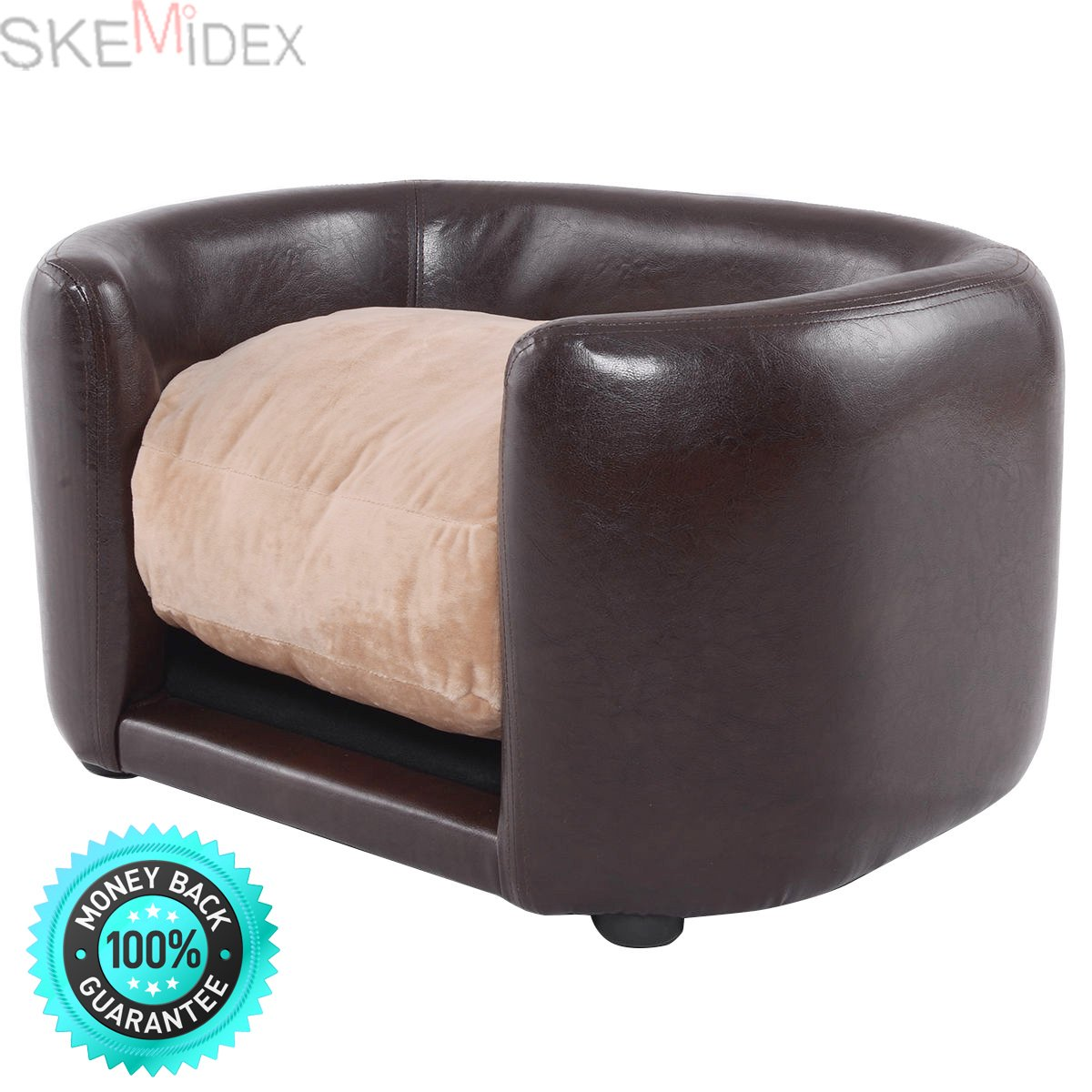 SKEMiDEX---Pet Sofa PVC Lounge Snuggle Soft Warm Dog Puppy Sleeping Bed w/ Cushion Brown. This super-soft pet bed with bolster is designed with comfort in mind The bolster is for your pet to rest