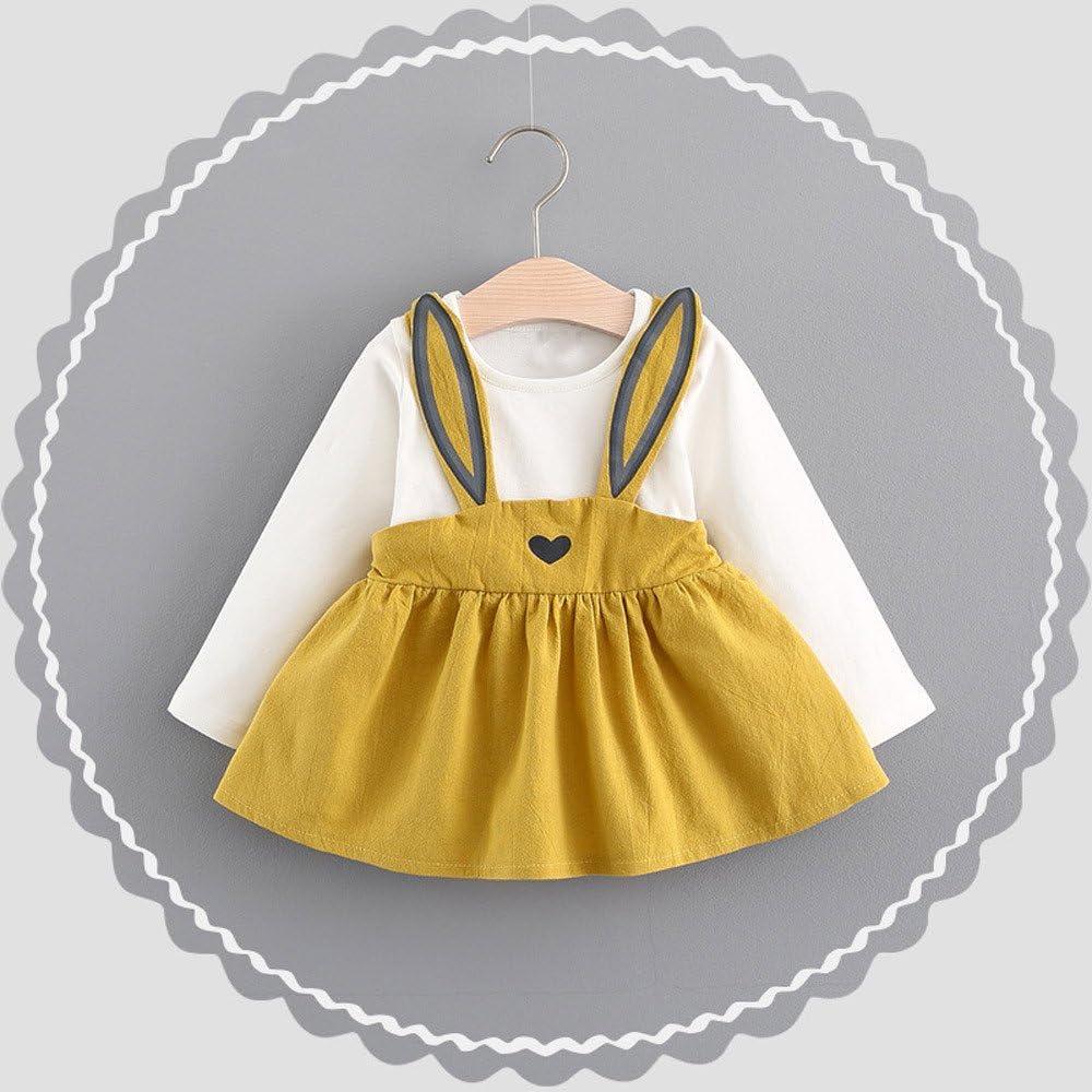 Dream Room Dresses 0-3 Years Old Toddler Baby Girls Autumn Tutu Skirt Longsleeve Princess Dress Mini Rabbit Bandage