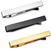 3 Pc Mens Tie Bar Slide Clip Set Skinny Ties 4 cm, Brushed Silver, Black, Gold in Gift Box