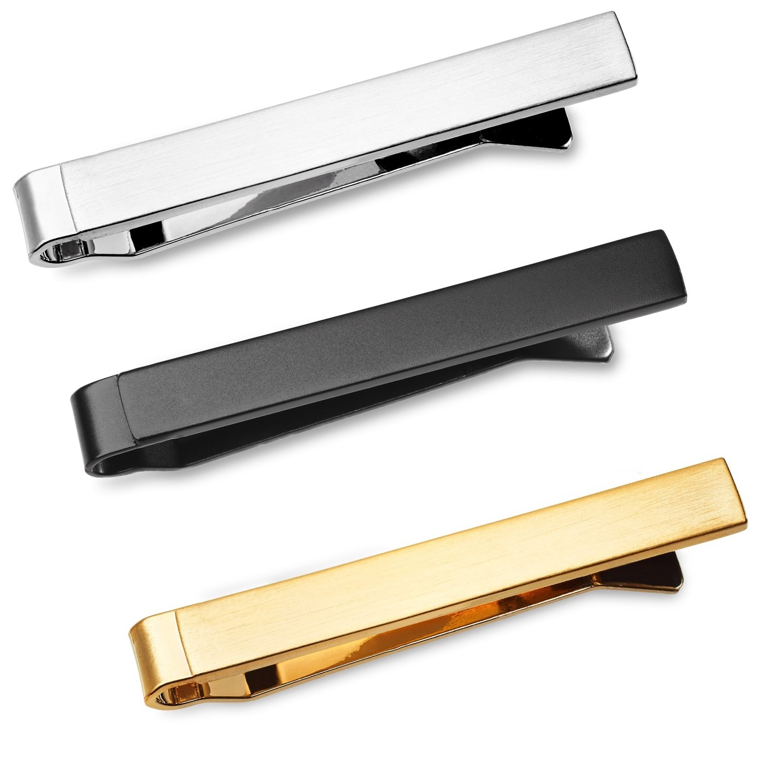 Puentes Denver 3 Pc Mens Tie Bar Slide Clip Set Skinny Ties 1.5 Inch, Brushed Silver, Black, Gold in Gift Box