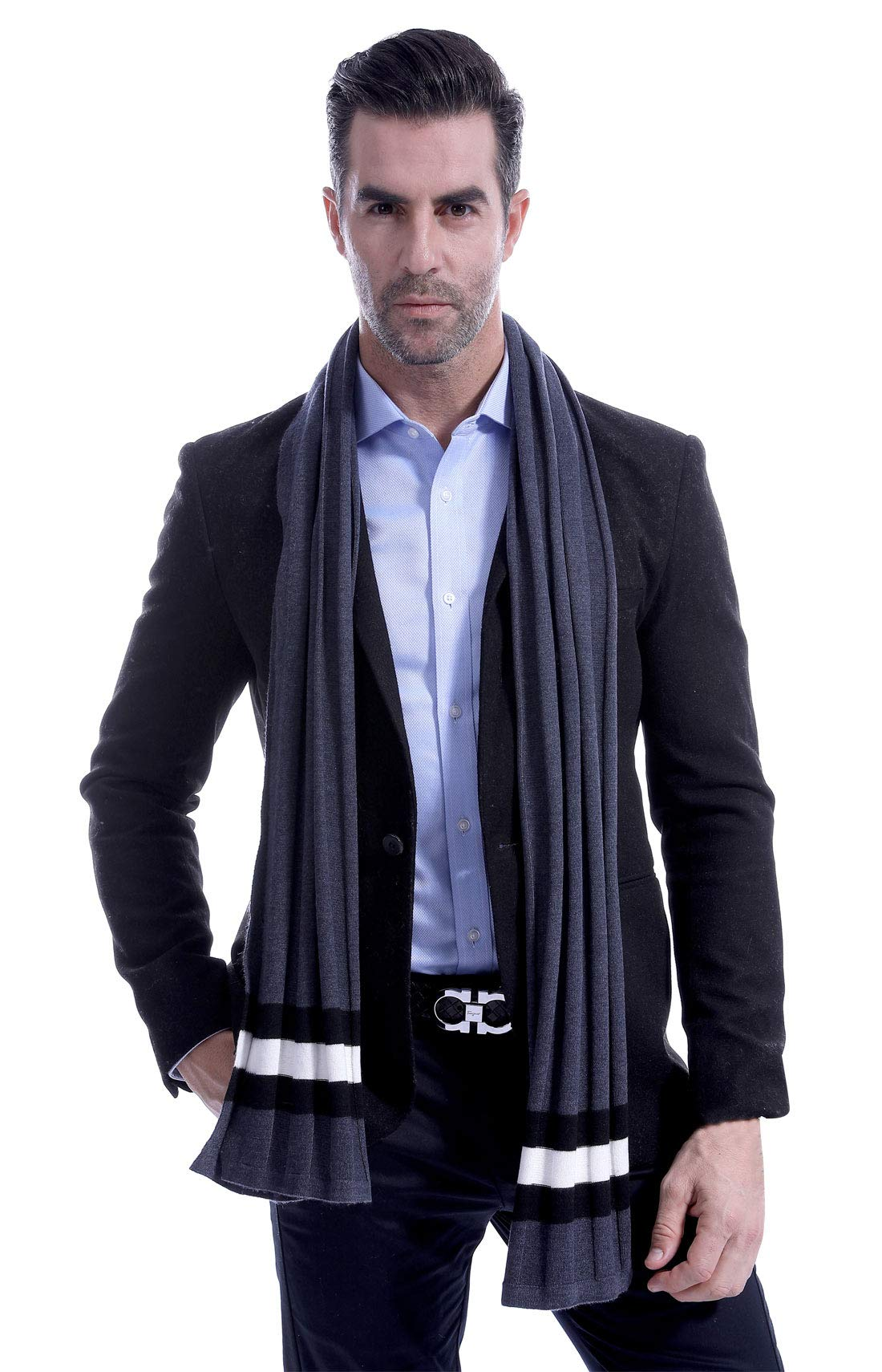 Men Plain Thermal Scarf Knitted Striped Winter Scarves One Size Leisure Business Men Warm Neckerchief Gray by Panegy (Image #1)
