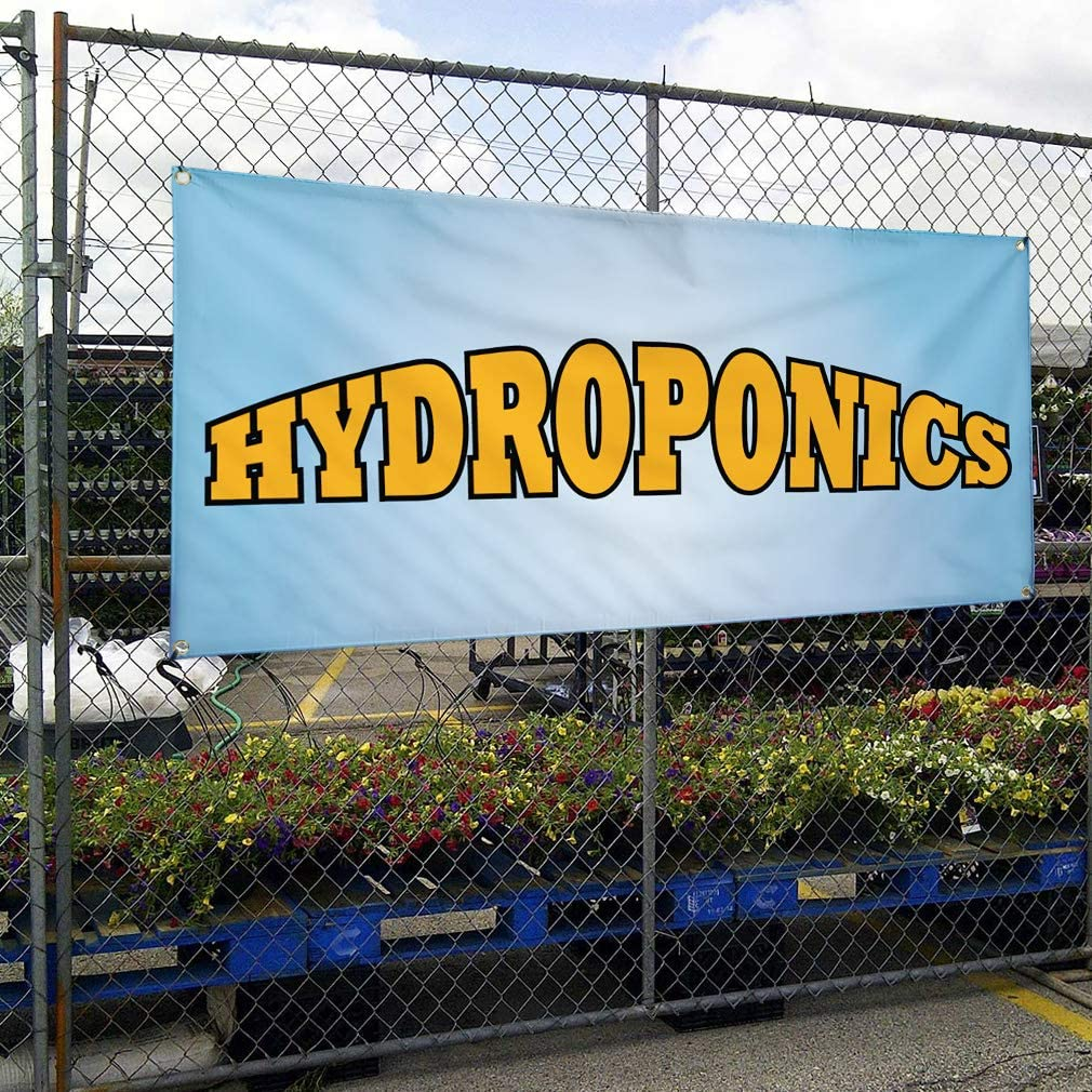 Multiple Sizes Available Set of 2 28inx70in Vinyl Banner Sign Hydroponics #1 Business Refreshing Outdoor Marketing Advertising Blue 4 Grommets