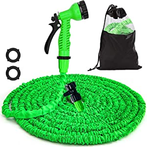 50FT Water Hose Expandable Garden Hose - Flexible Lightweight Water Hose, 7Function Spray Nozzle, Triple Layer Latex Core Water Pipe & Extra Strength Fabric, Kink Free Flexible Hose (Green)