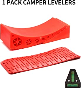 Homeon Wheels Camper Leveler,RV Leveling Block Works for Camper Includes 1Curved Leveling Ramp,1Chock with Built-in Handle,1Mat and Level.Easily Level up Your Travel Trailer-Up to17,500LBS(1pack) Red