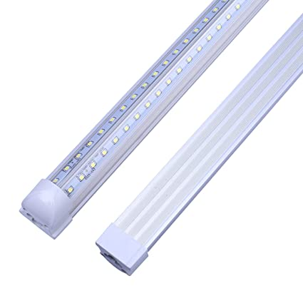 LED Tube Light,Double Side V Shape Integrated Bulb Lamp, 8FT 72W (150W  Fluorescent Equivalent), Works Without T8 Ballast, Plug and Play, Clear  Lens