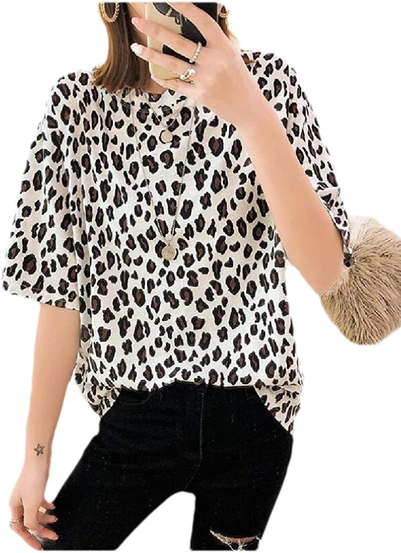 Wofupowga Women Summer Top Leopard Short Sleeve Printed Tee T-Shirts