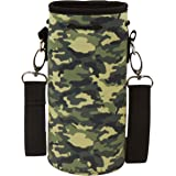 "Neoprene Water Bottle Carrier Bag Pouch Cover, Insulated Water Bottle Holder (32 oz / 1-1.5L) w/ 49"" Adjustable Padded Shoulder Strap - Great for Stainless Steel, Glass, or Plastic Bottles by MEK"