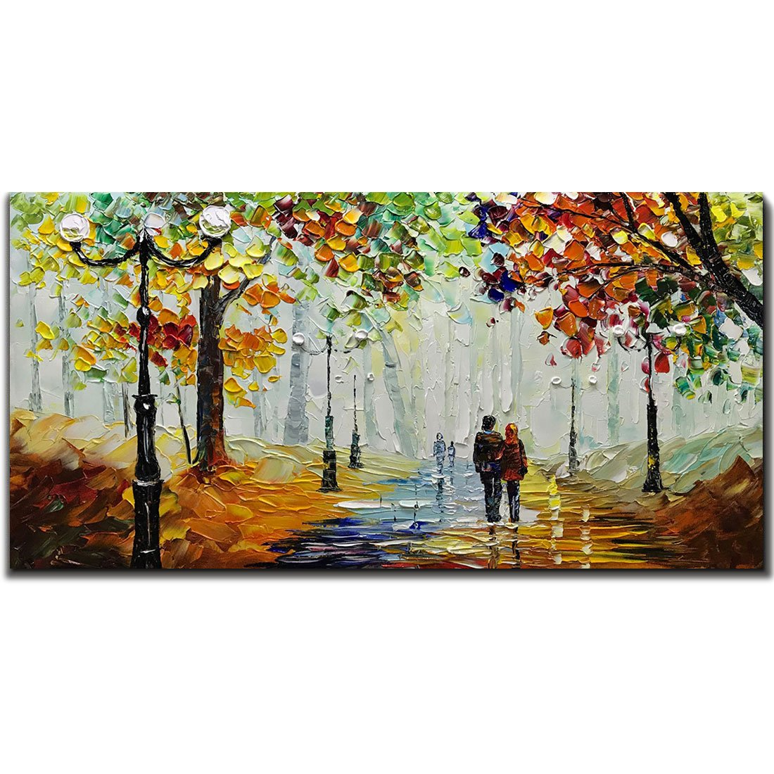 Yotree Paintings, 24x48 Inch Paintings Rainy Stree Oil Hand Painting Painting 3D Hand-Painted On Canvas Abstract Artwork Art Wood Inside Framed Hanging Wall Decoration Abstract Painting