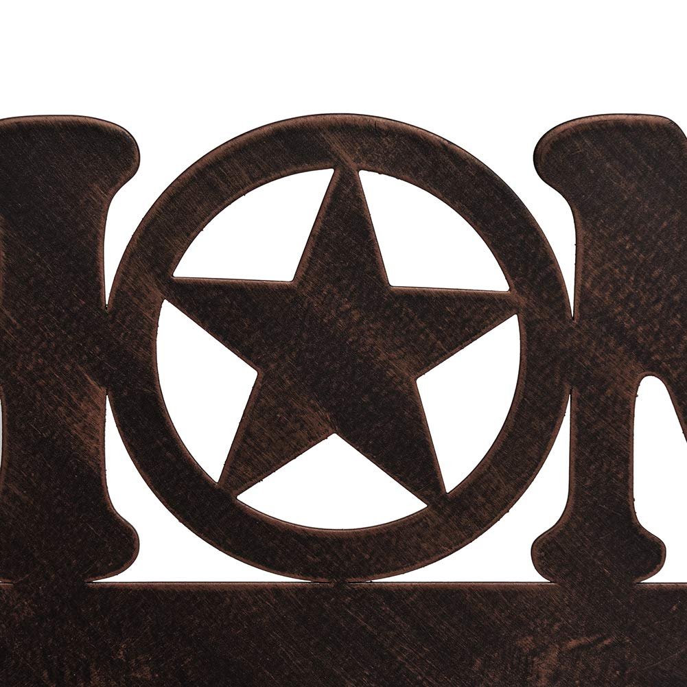 EBEI Metal Barn Star Key Rack Holder Wall Mounted Metal Decorative 12 Vintage Key with 5 Hooks Dark Brown Western Home Wall Decor Texas Home Decor