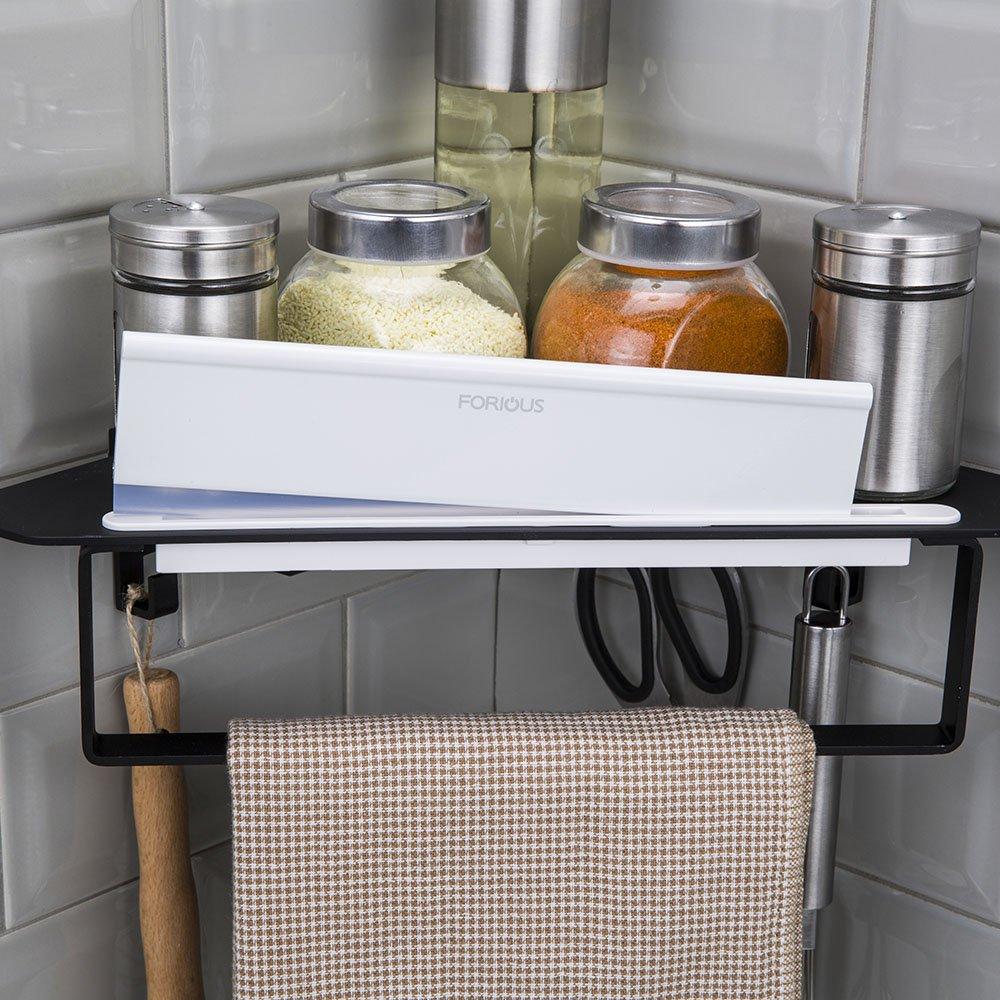 Pié De Baño De 3 niveles estante de la esquina Caddy ducha de almacenamiento de cocina de 33.7