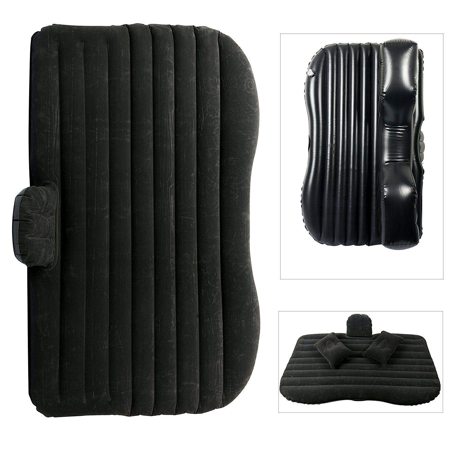 Mami-Team Car Air Mattress Bed Inflatable Travel Back Seat Sleep Rest Mat Pillow Pump Lightweight Folded Cushion SUV Weight: 2.6 kg/5.7lbs Inflated Size 53.54 x 33.07 x 17.32 Inches (Black) by Mami-Team (Image #2)