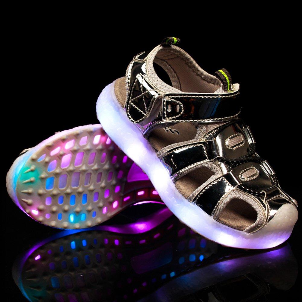 Z.SUO Infiammante con Scarpe LED di Ricarica USB,Sandali Bambina Bambino Unisex bambini(28 EU,Rosa)