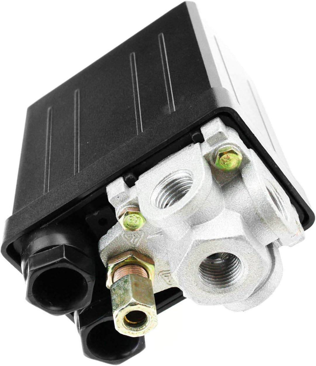 VORCOOL Air compresseur pression interrupteur contr/ôle Valve 240V AC 20 a 175 PSI 12 Bar 4 ports