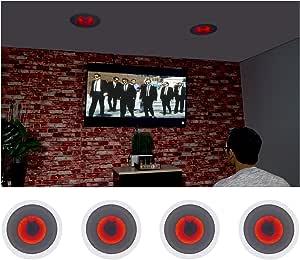 "(4) Rockville HC85-LED 8"" 700 Watt in-Ceiling Home Theater Speakers w/Red LED"