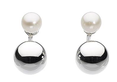 799d88e79 Dew Sterling Silver and Freshwater Pearl Ball Ear Jackets Stud Earrings:  Amazon.co.uk: Jewellery
