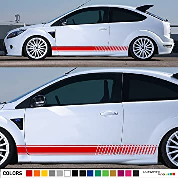 Set of racing side stripes decal sticker graphic compatible with ford focus st rs mk2 3