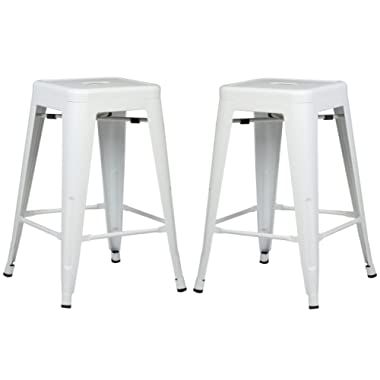 Poly and Bark Trattoria 24  Counter Height Stool in White (Set of 2)