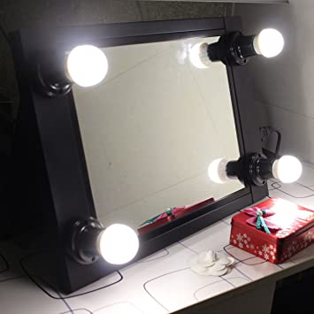 portable vanity mirror with lights. Black Portable Vanity Mirror with Light Bulbs Hollywood Style Girl lighted  Makeup Professional Glow Amazon com