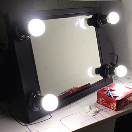 Black Portable Vanity Mirror With Light Bulbs Hollywood Style Girl Lighted  Makeup Mirror, Professional Glow