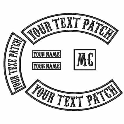 6 Pack Custom Embroidered MC Biker Patches Personalized Embroidery Rocker Patch Rider Motorcycle Back