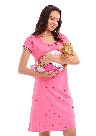 a6c8eeac2ab10 ZEYO Women's Cotton Pink & Peach Feeding Long top   Nursing Night Dress  with Little Heart Print Half Sleeve Breastfeeding Night Gown Baby Feeding  Short ...