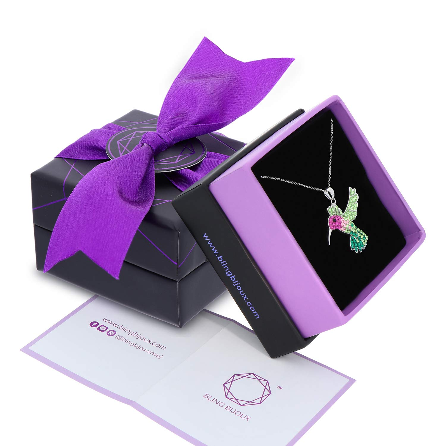 Colorful Flying Hummingbird Crystal Pendant Necklace Never Rust 925 Sterling Silver for Women, Girls & Teens, Natural & Hypoallergenic Chain with Free Breathtaking Gift Box for Special Moments of Love by BLING BIJOUX Jewelry (Image #2)