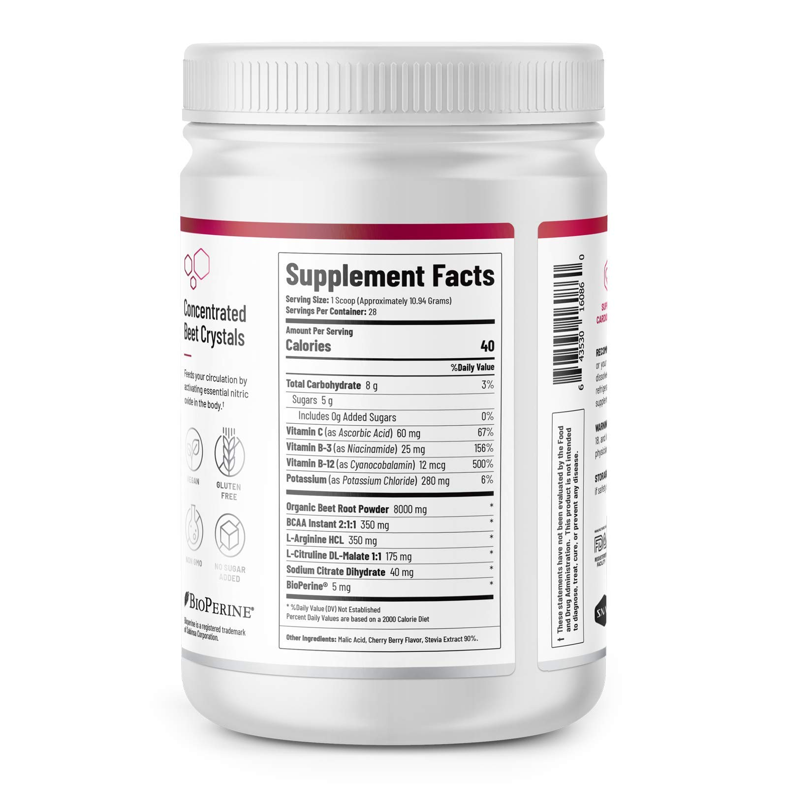 Beet Juice Powder (Organic) Nitric Oxide by Snap Supplements - Blood Flow and Circulation Superfood, Muscle & Heart Health - BCAAs. L Arginine, L Citrulline - 306 Grams! by Snap Supplements (Image #2)