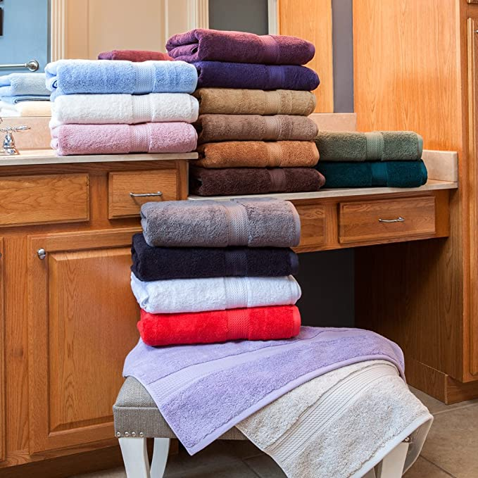 Amazon.com: 900 GSM 8 Piece Towel Set - Luxurious 100% Long Staple Cotton, Heavy Weight & Absorbent - 4 Large Bath Towels 30x55, 2 Hand Towels 20x30, ...