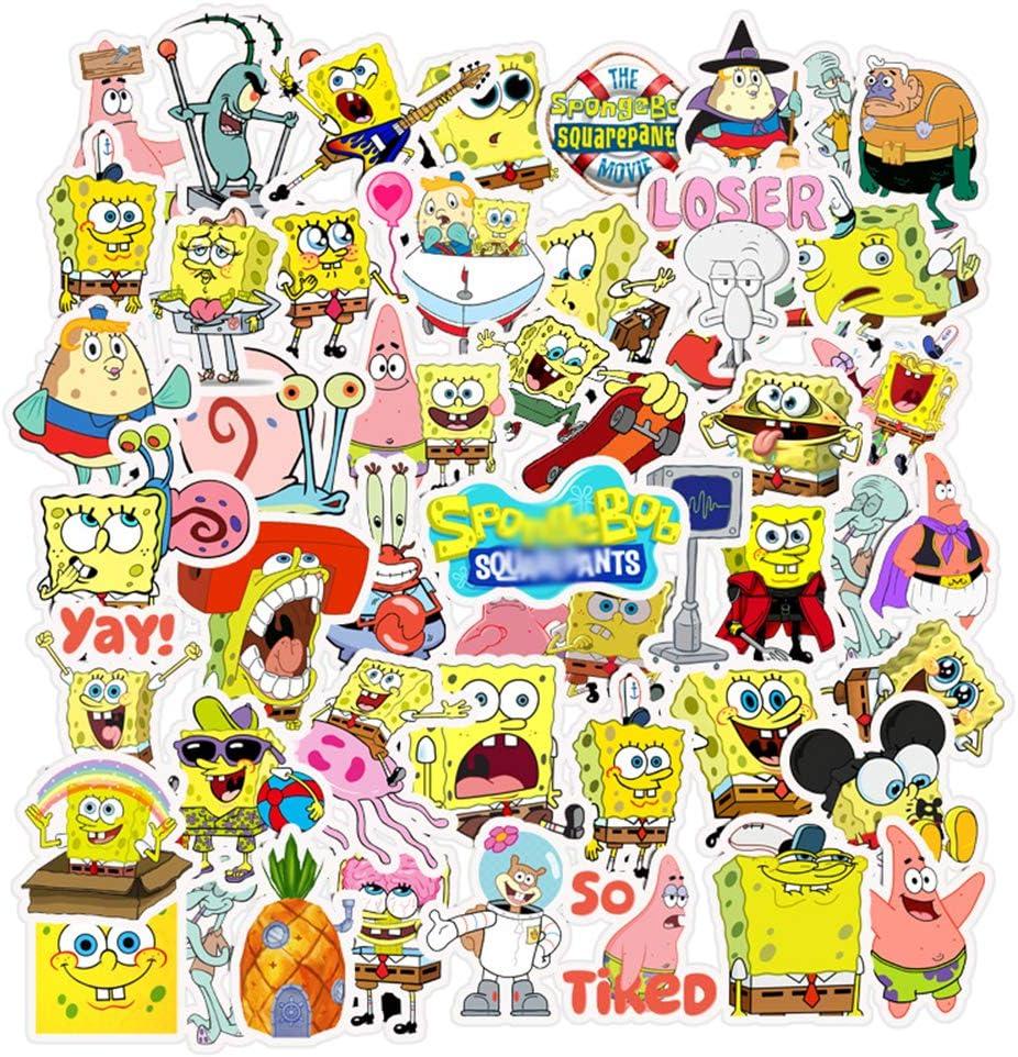 Spongebob Squarepants Stickers,Vinyl Sticker for Laptop Water Bottle Guitar Bike Car Motorcycle Bumper Luggage Skateboard Graffiti, Cute Decals, Best Gift for Kids,Children,Teen(50pcs)