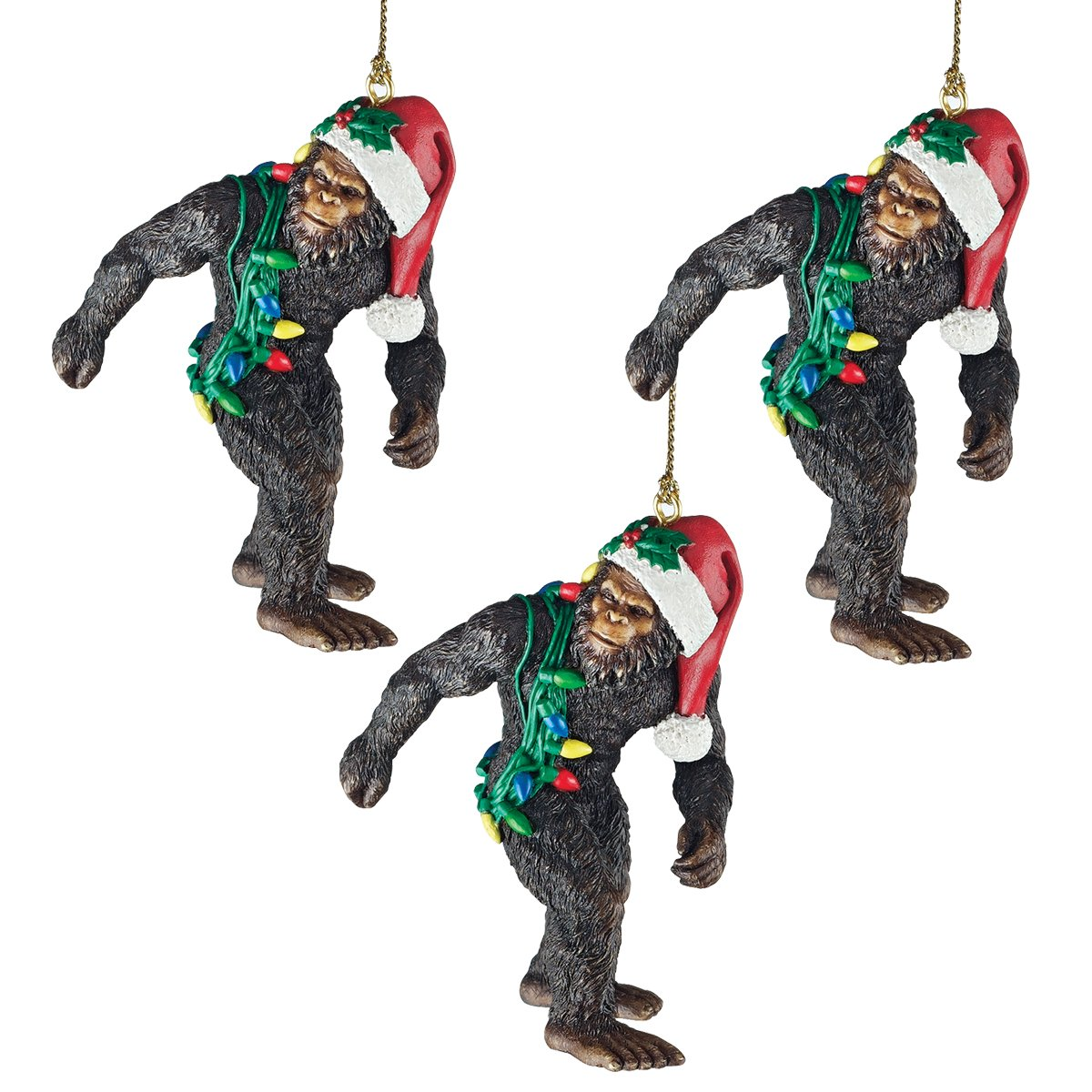 Design Toscano Christmas Tree Ornaments - Bigfoot The Holiday Yeti with Santa Hat Holiday Ornament: Set of Three - Funny Christmas Ornaments - Christmas Decorations
