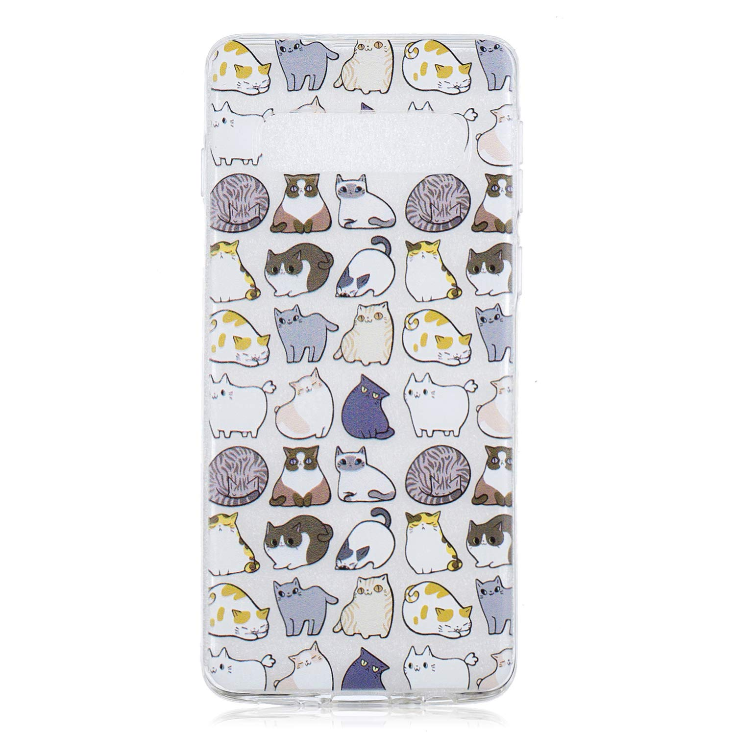 Galaxy S10e Case, for S10e 5.8'', MerKuyom Lightweight [Clear Crystal Transparent] Slim-Fit Flexible Gel Soft TPU Case Cover for Samsung Galaxy S10e 5.8-inch, W/Stylus (Mulitple Cute Cats)