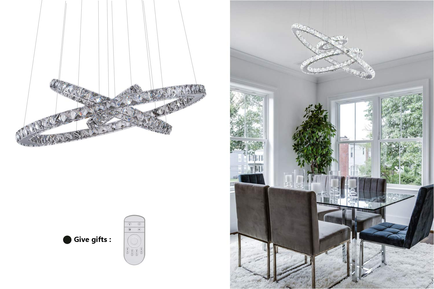 KAI Crystal Chandelier Island Pendant Light Dimmable Temperature Adjustable LED Contemporary Lamp with 72W 8640LM Adjustable Height 3 Rings Modern Flush Mount Ceiling Lighting for Dining Room,1 Pack