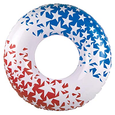 Red, White and Blue Patriotic American Stars Swimming Pool Inner Tube, 36-inch: Sports & Outdoors