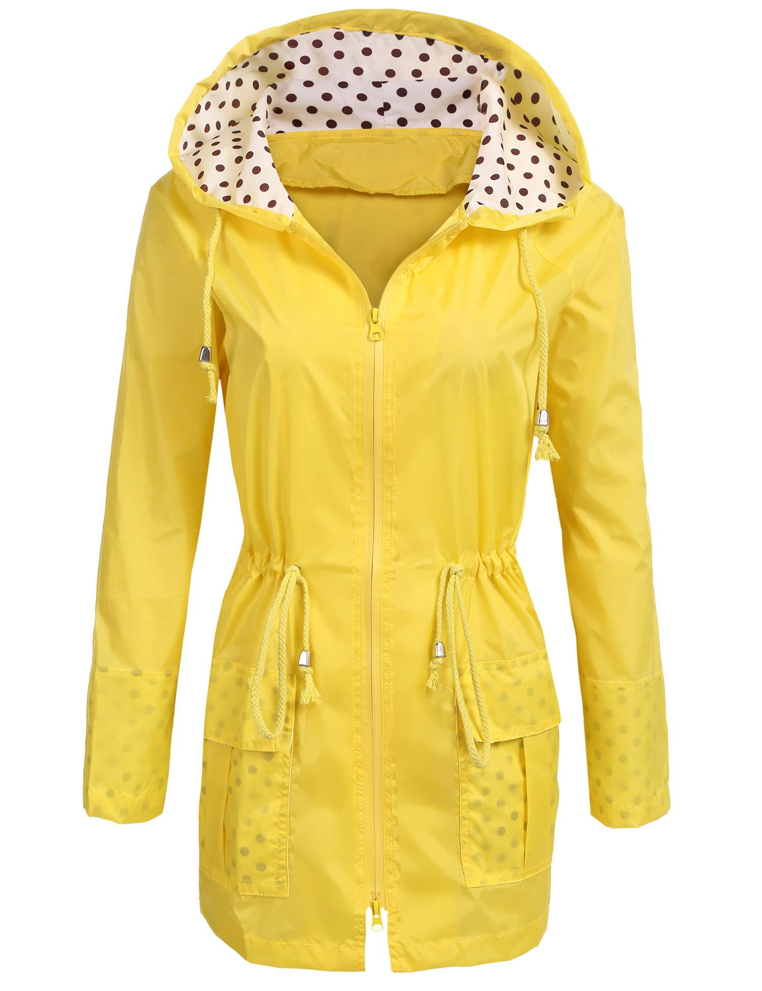 Unibelle Waterproof Lightweight Rain Jacket Active Outdoor Hooded Raincoat for Women, Yellow, Large by UNibelle