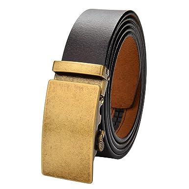 VRLEGEND Herren Gürtel 110-170cm Echtes Leder Ratsche Automatik Ledergürtel  Leder Gürtel Jeans Belt ( 004bed6030