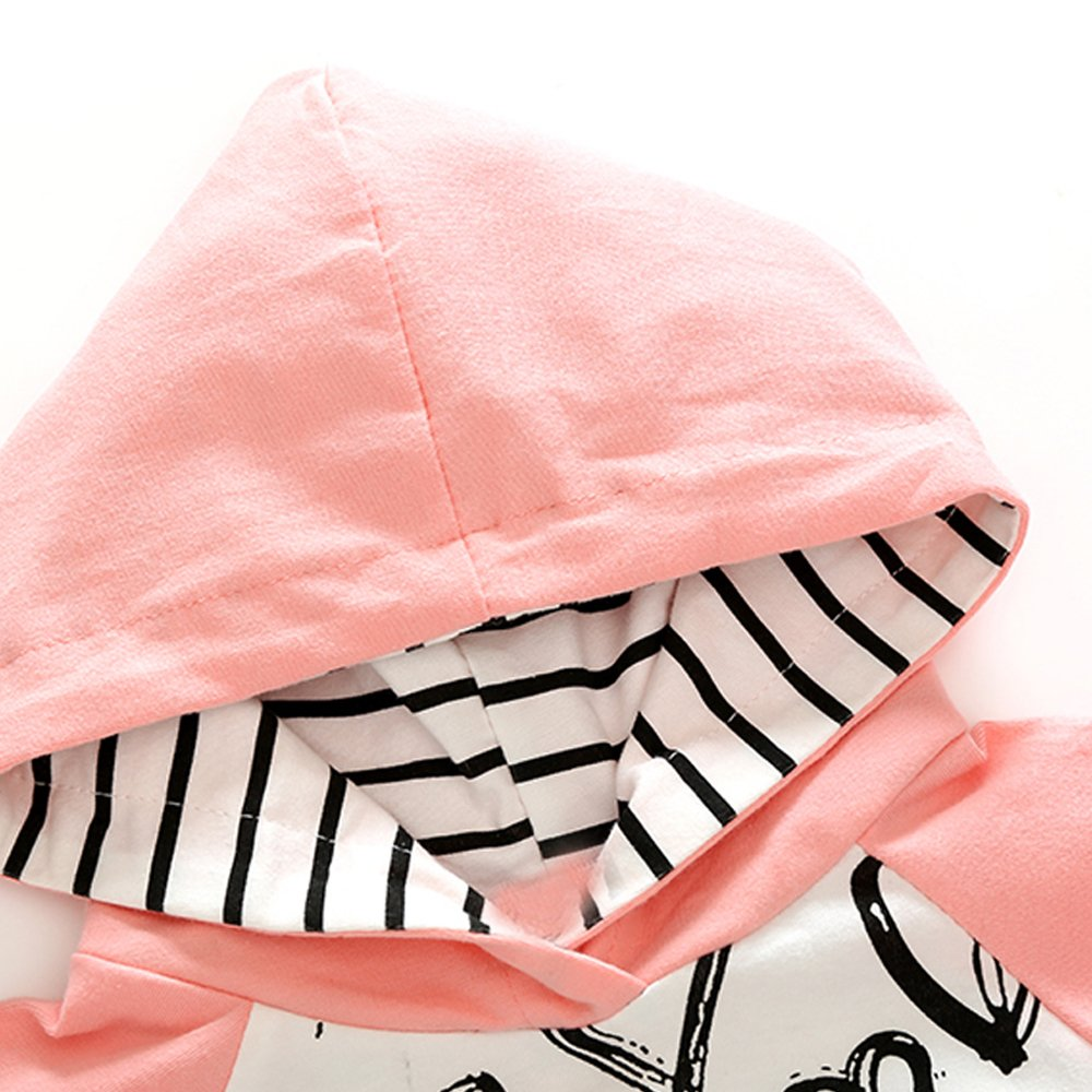 Top and Top Newborn Baby Girls Pink 2Pcs Graffiti Heart Hoodie and Pants Outfits Sets