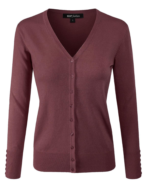 Eftcs2redbean ELF FASHION Women Top Long Sleeve Button VNeck Cardigan Sweater