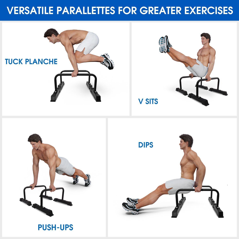 Parallettes Calisthenics Bodyweight Planche L-Sit V-Sit Push Ups Workout 50cm