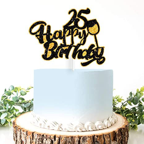 Outstanding Amazon Com Aerzetix Birthday Decoration Happy 25Th Birthday Cake Funny Birthday Cards Online Alyptdamsfinfo