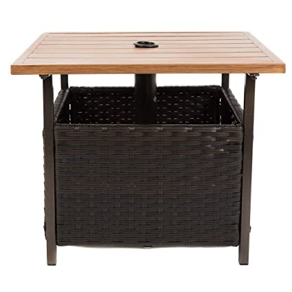 amazon com naturefun outdoor pe wicker square bistro side table