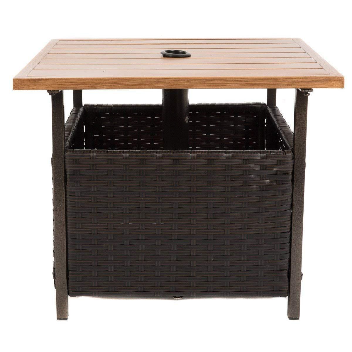 Naturefun Outdoor PE Wicker Square Bistro Side Table, Garden Leisure Coffee Table with Umbrella Hole