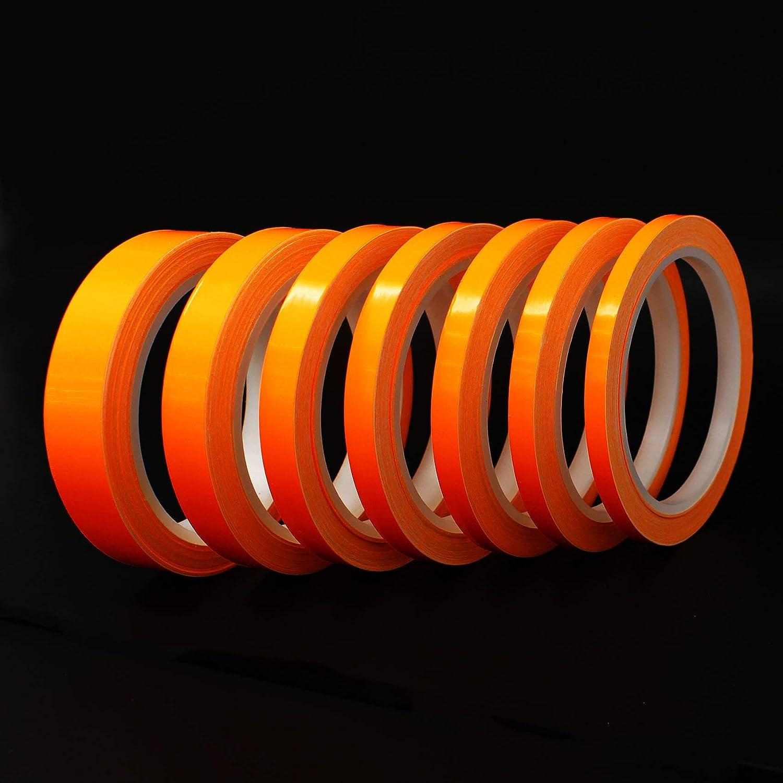 0,79/€//Meter Neon Orange, 12mm Breite 10 Meter Finest Folia Dekorstreifen Seitenstreifen Glanz Zierstreifen Auto Motorrad Boot Modellbau Silber Chrom