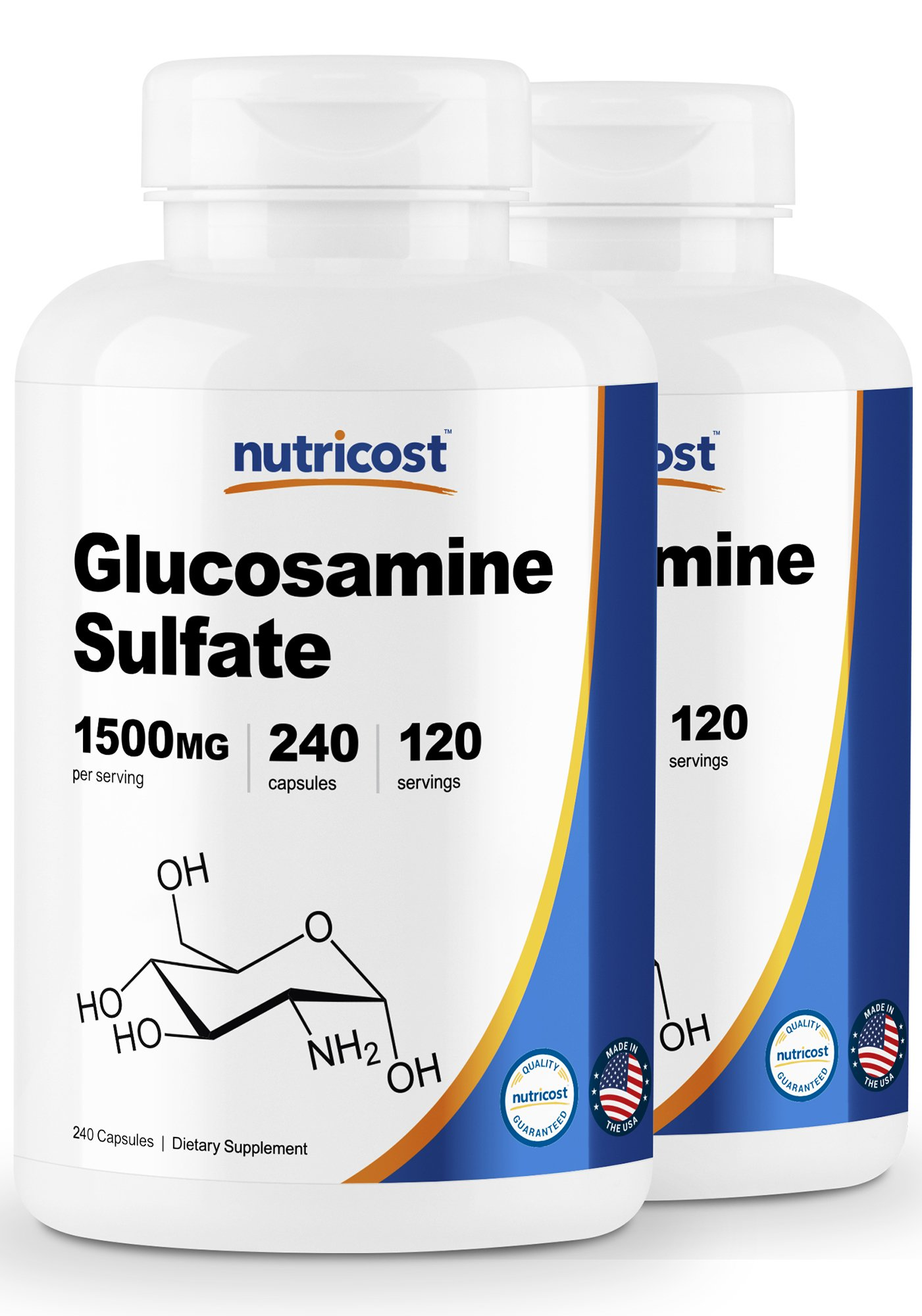 Nutricost Glucosamine Sulfate 750mg, 240 Capsules (2 Bottles) (1500mg per Serving) by Nutricost
