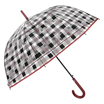 Paraguas Cupula Transparente Mujer - Paraguas Largo Clásicos con Estampado de Cuadros - Resistente Antiviento de Fibra de Vidrio - Automatico - Diametro 89 ...
